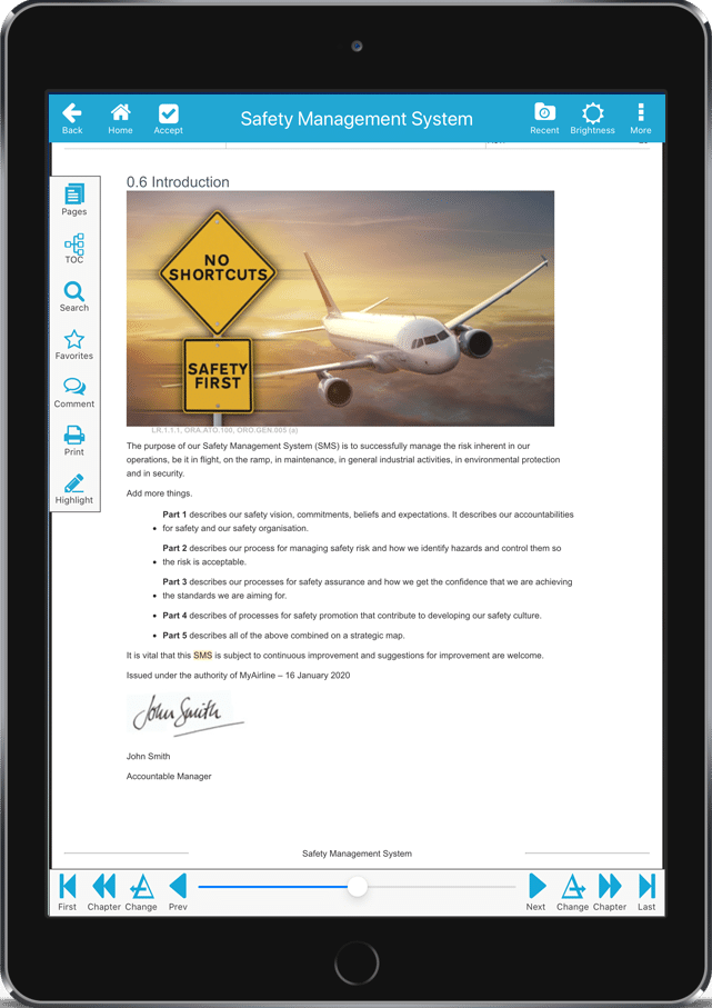 web manuals reader app on electronic flight bag viewing document