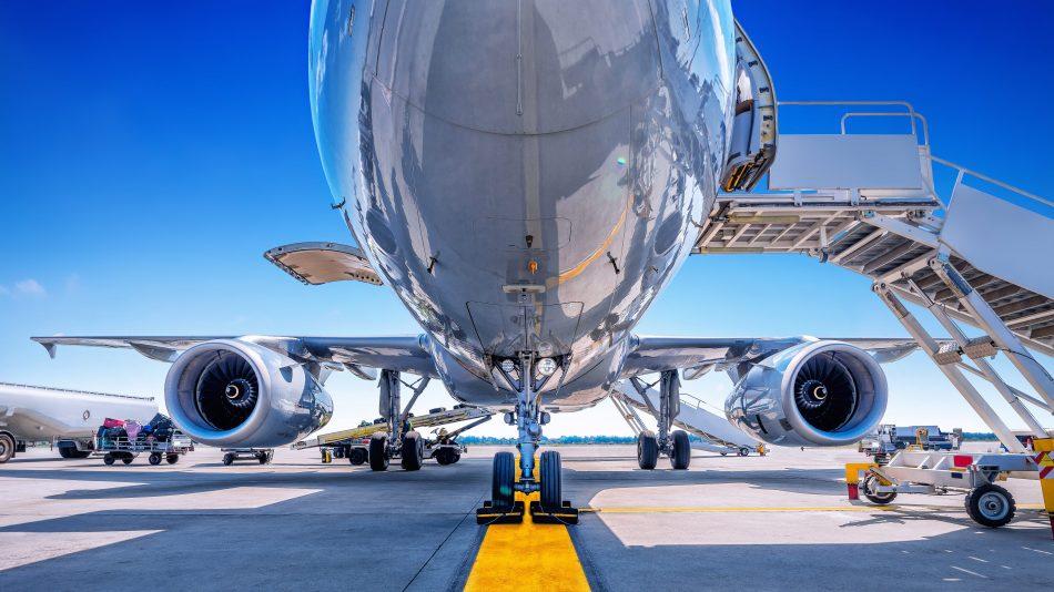 Passenger plane from below